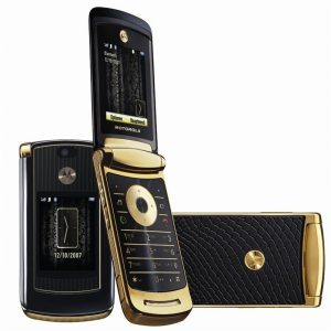 Motorola Razr2 V8 Gold Flip Mobile Phone - Luxury Edition