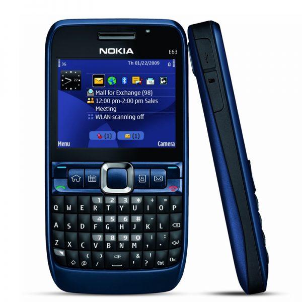 Nokia E63 Qwerty Keypad Phone Refurbished Blue