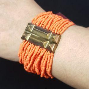 Orange Color Moti Bracelet with Copper Metal Designer Piece - For Girls
