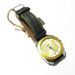 Round Dial Watch For Men - Steel Dial - MEN - ( BLACK - YELLOW )