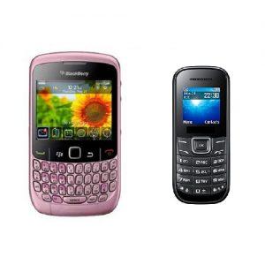 Blackberry 8520 Curve Pink Refurbished Qwerty Keypad Mobile + Guru 1200 Mobile Free