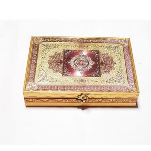 Wooden Gift Box Rectangular Shaped - Chocolate Box Handmade Golden Plated Box