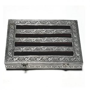 Metal Plated Rectangle Shaped Gift Box- Dry Fruit Box - Attractive Box